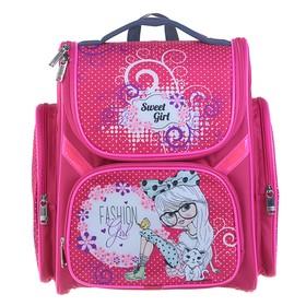 Ранец Стандарт BagFashion 902, 36 х 34 х 20 см, для девочки, раскладной, «Девочка в очках, бант» розовый