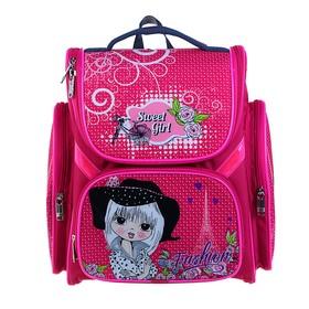 Ранец Стандарт BagFashion 902, 36 х 34 х 20 см, для девочки, раскладной, «Девочка в шляпе» розовый