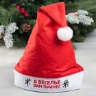Колпак Деда Мороза «Я веселье вам принёс», 19 × 27 см
