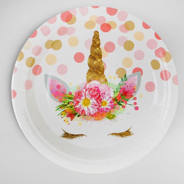 "Plate paper ""the Unicorn and confetti"" set of 6 PCs"
