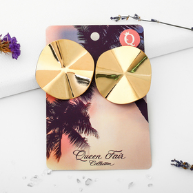 """Metal earrings """"Atmosphere"""" of the waves, the color of gold"""