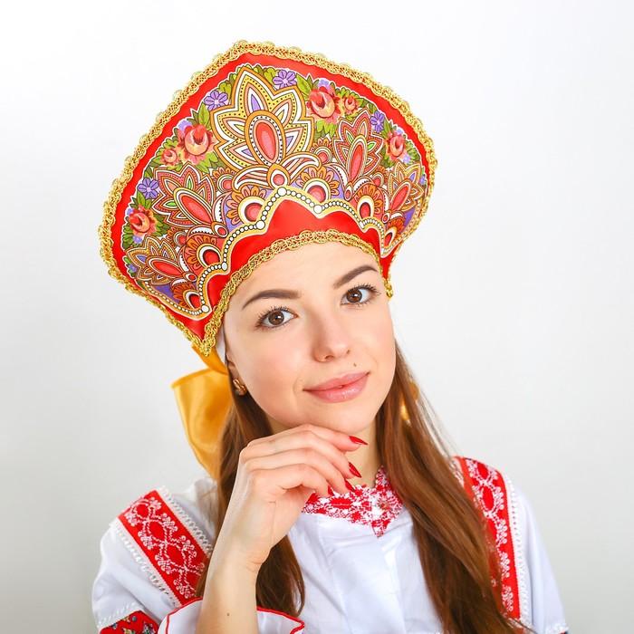 Кокошник «Павлово-Посадский узор», с цветами