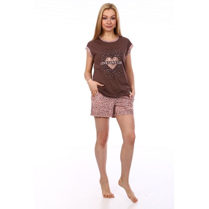 Комплект женский (футболка, шорты), цвет МИКС, размер 52