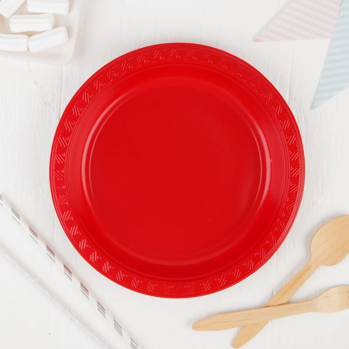 Тарелки пластиковые 23 см, набор 6 шт, цвет бордовый
