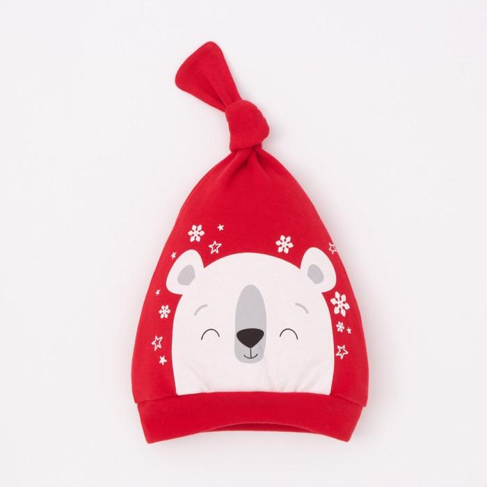"""Чепчик (шапочка) Крошка Я """"Новогодний медвежонок"""", красный, р.48 - фото 105570148"""