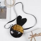 Мягкая сумочка «Зайка», пайетки, цвет чёрно-золотой