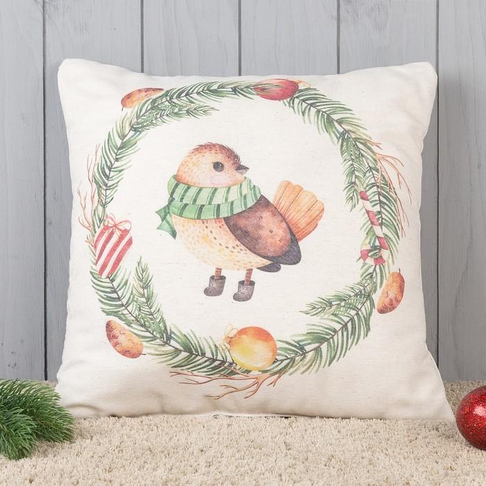Подушка декоративная с фотопечатью Зимняя пташка 40х40 см, хлопок 34%, полиэфир 66%