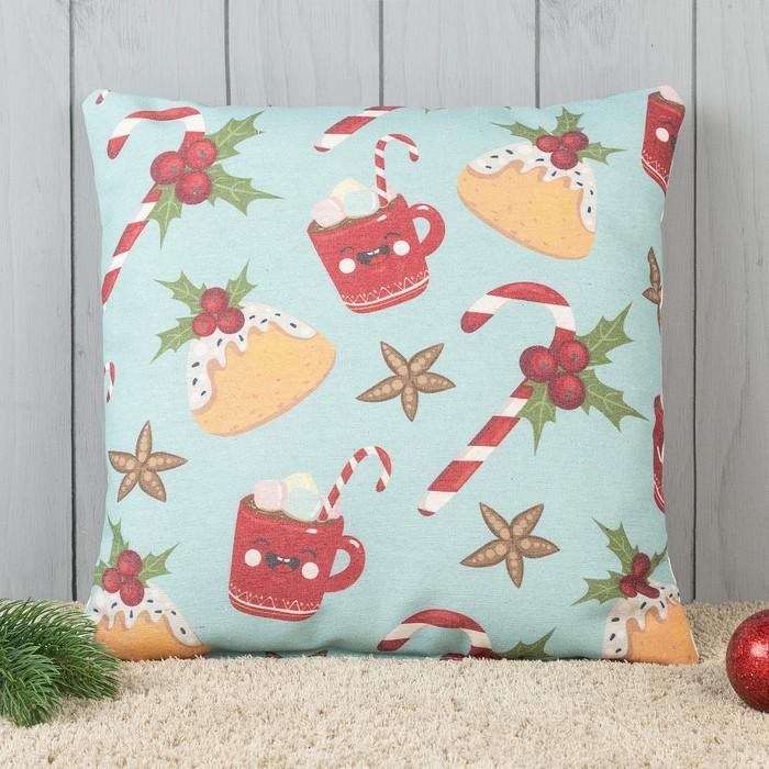 Подушка декоративная с фотопечатью Имбирное печенье 40х40 см, хлопок 34%, полиэфир 66%