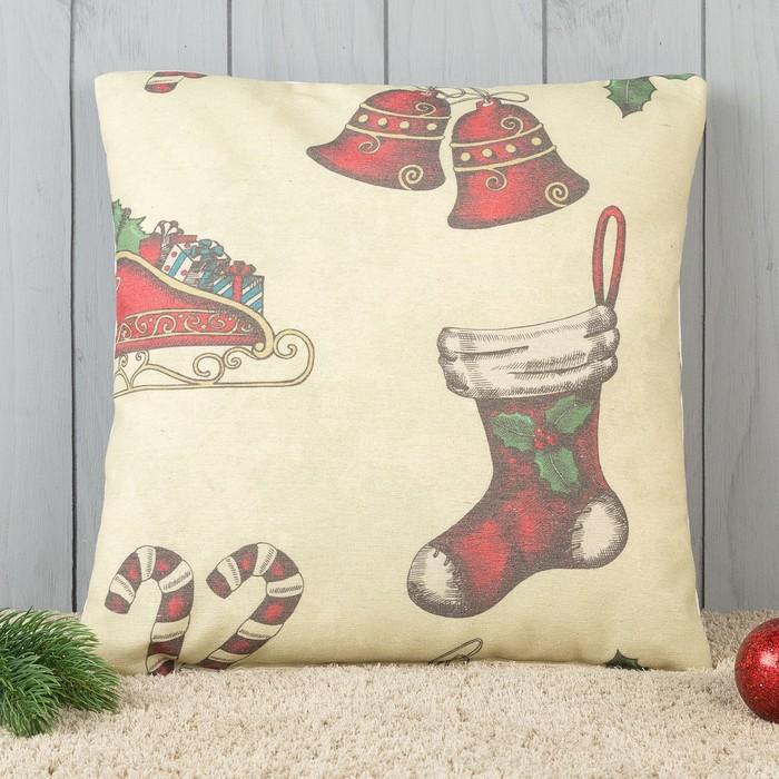 Подушка декоративная с фотопечатью Подарок 40х40 см, хлопок 34%, полиэфир 66%