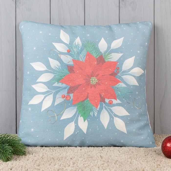 Подушка декоративная с фотопечатью Рождественская звезда 40х40 см, хл. 34%, полиэфир 66%