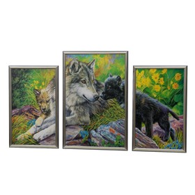 "Модульная картина ""Волк и волчонок"" 30*50-2, 39*59-1, 60х100 см"