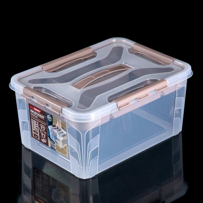 Ящик универсальный 15,3 л Grand Box, с замками и вставкой-органайзером, цвет синий