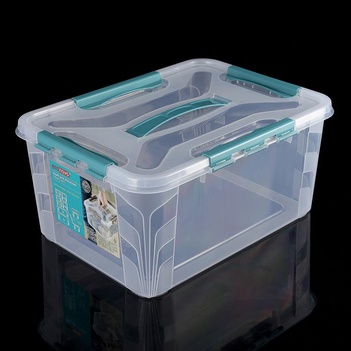 Ящик для хранения с замками и ручками Grand Box, 39×29×18 см, 15,3 л, цвет синий