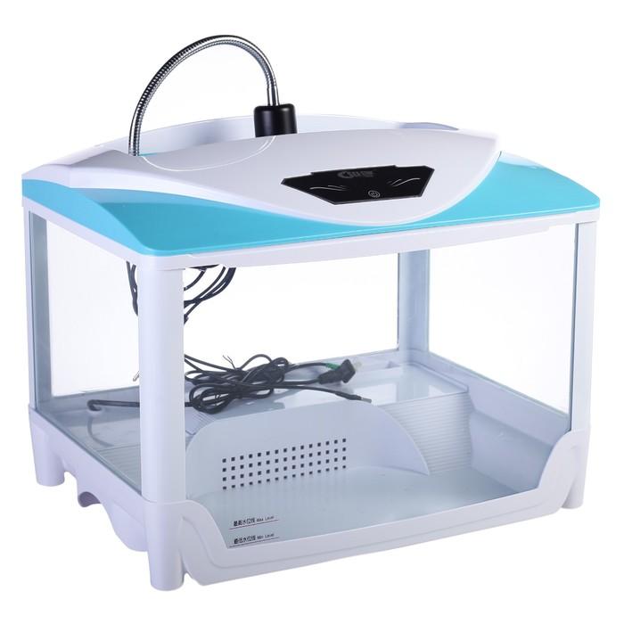 Террариум Sea Star W-500B с помпой, LED-лампой и греющей лампой накаливания, бело-голубой