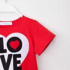 """Футболка детская KAFTAN """"Love"""" р. 30, рост 98-104 см, красный - фото 105705089"""