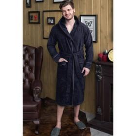 Халат мужской с капюшоном, размер 48, цвет тёмно-синий, махра