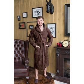Халат мужской с капюшоном, размер 50, цвет шоколадный, махра