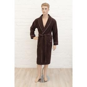 Халат мужской, размер 48, цвет шоколадный, махра-велюр