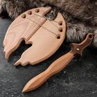 """Сувенир деревянный """"Набор воина"""", щит 37 х 20 см, меч 46 х 8 см, массив бука"""