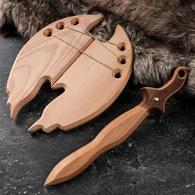 """Сувенирное оружие """"Набор воина"""", деревянное, щит 37 х 20 см, меч 46 х 8 см, массив бука"""