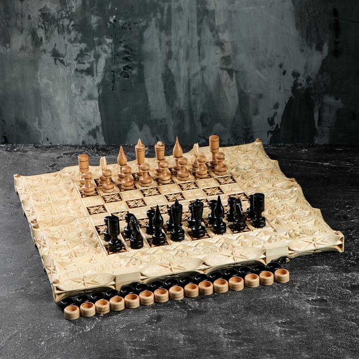 Шахматы-нарды деревянные резные, 55х25 см, рисунок микс, ручная работа