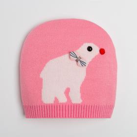 Шапка детская, цвет розовый, размер 38-42