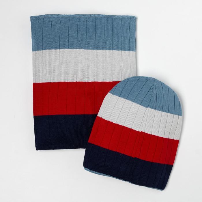 Компллект для мальчика (шапка, снуд), цвет красный, размер 52-54 - фото 105567339