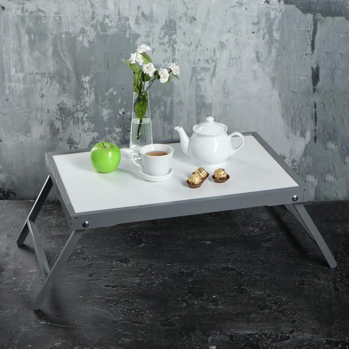 """Столик для завтрака """"Ренессанс"""", 60 х 40 см, цвет серый, массив ясеня"""