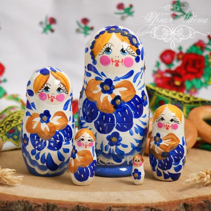 Матрёшка 5-ти кукольная «Белый с голубым», 10 см