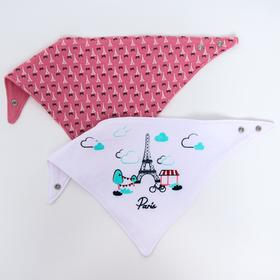 2-in-1 bib and neckerchief Paris pink