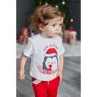 """Футболка Крошка Я """"Новогодний Пингвинчик"""", белый, р.22, рост 62-68 - фото 105573696"""