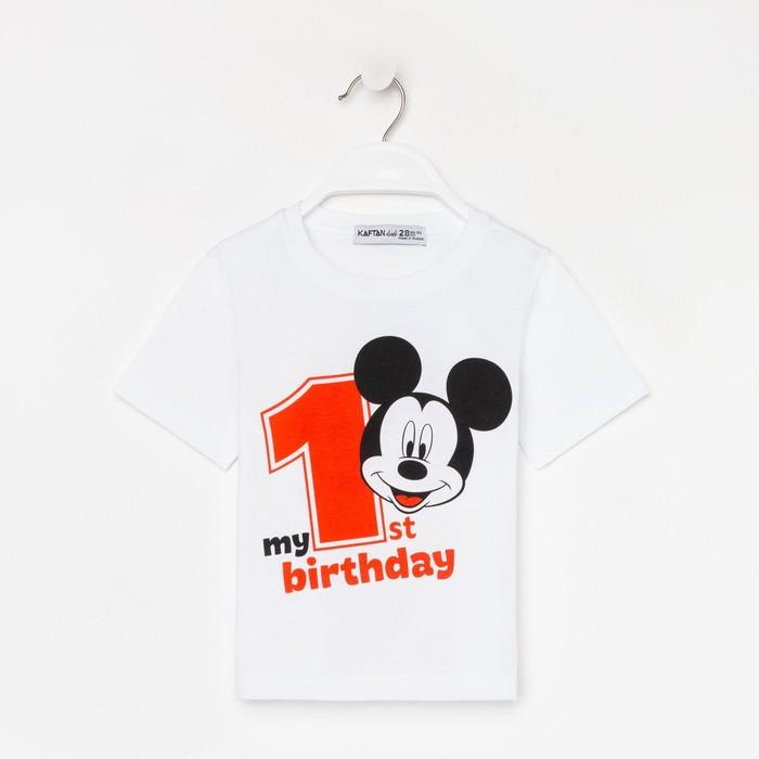 """Футболка """"My 1st Birthday"""", Микки Маус, белая, р.26, рост 74-80 см"""