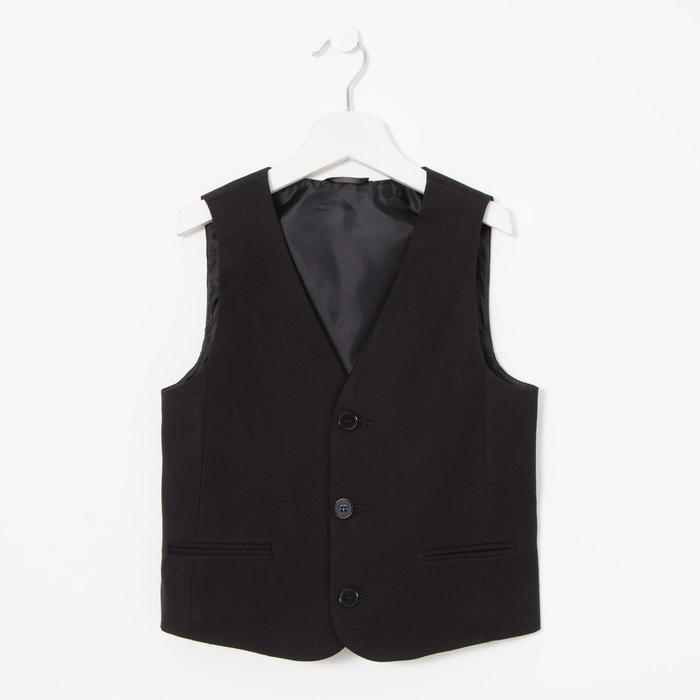Жилет приталенного силуэта для мальчика, черный, рост 134 (34/S) - фото 105491887
