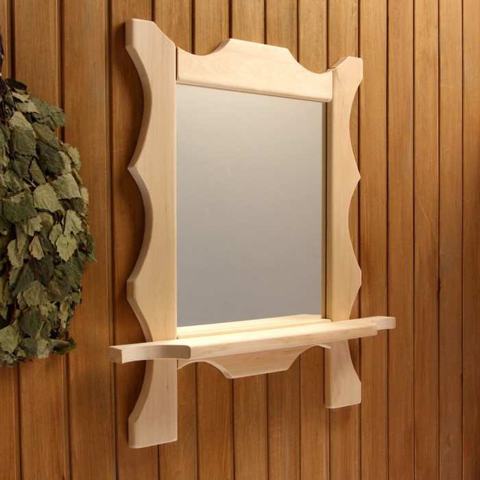 Зеркало резное с 1 полкой, 70×55×16 см