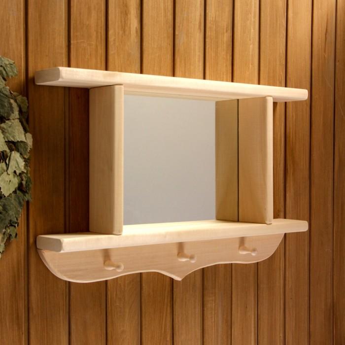 Зеркало резное с 2 полками и 3 крючками, 70×45×10 см