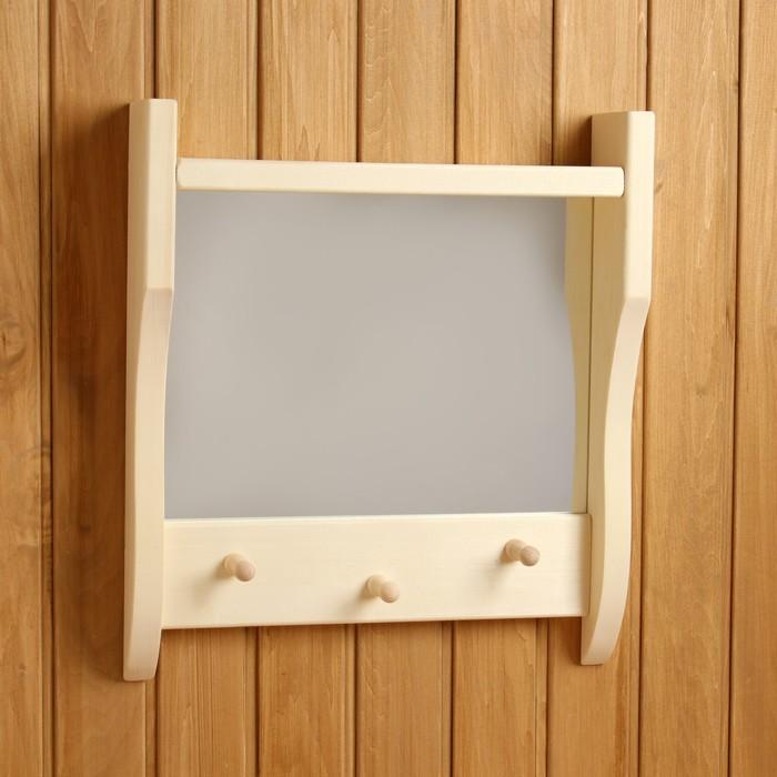 Зеркало резное с 1 полкой и 3 крючками, 45×50×10 см
