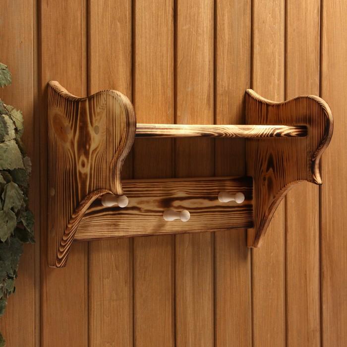 Полка-вешалка малая, обожжённая, 3 крючка, 45×25×20 см