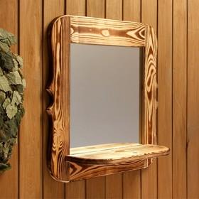 Зеркало резное с полкой, обожжённое, 53×53×1,6 см