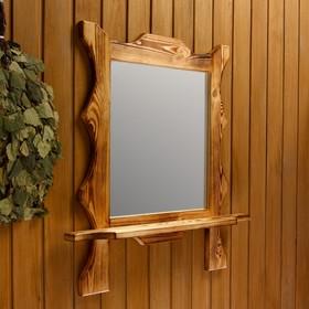 """Зеркало резное """"Квадрат"""" с полкой, обожжённое, 53×53×15 см"""