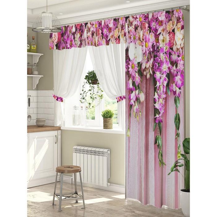 Комплект штор Ламбрикен из цветов штора (147х267 см), тюль (294х160 см), габардин, пэ 100%