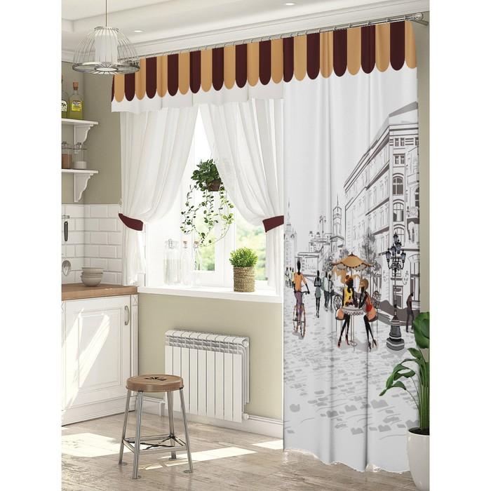 Комплект штор для окон с балконной дверью «Любимый город» штора 147х267 см, тюль 294х160 см