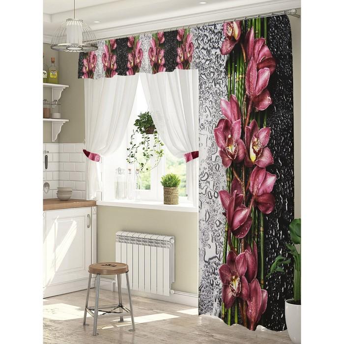 Комплект штор Орхидея на стекле штора (147х267 см), тюль (294х160 см), габардин, пэ 100%