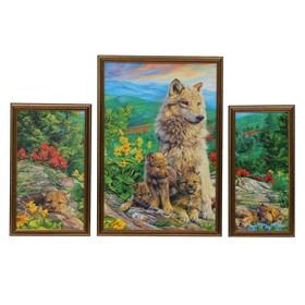 """Модульная картина """"Волки в летнем лесу"""" 20*35-1, 33*49-1, 16*35-1, 50х70 см"""