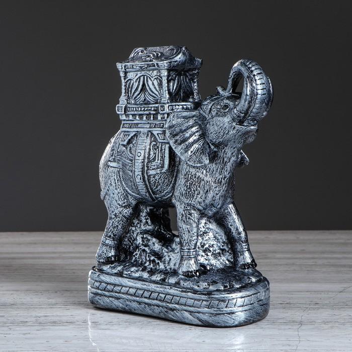 """Статуэтка """"Слон с седлом"""" цвет серебристый, 37 см, микс"""