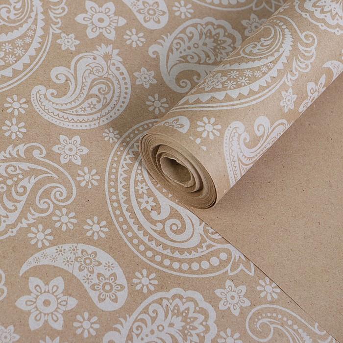 """Бумага упаковочная крафт """"Огуречный узор белый"""", 0,72 х 10 м, 70 г/м² /м2"""