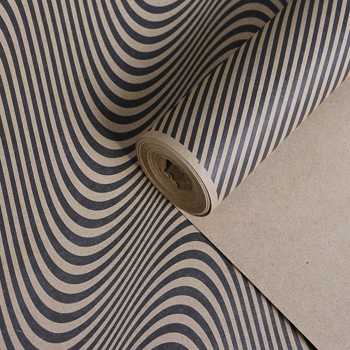 "Бумага упаковочная крафт ""3D линии чёрные"", 0,72 х 10 м, 70 г/м²"