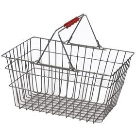 Корзина покупательская металлическая, 20 л, цвет красный, 2 литые ручки ПВХ, Цинк Ош