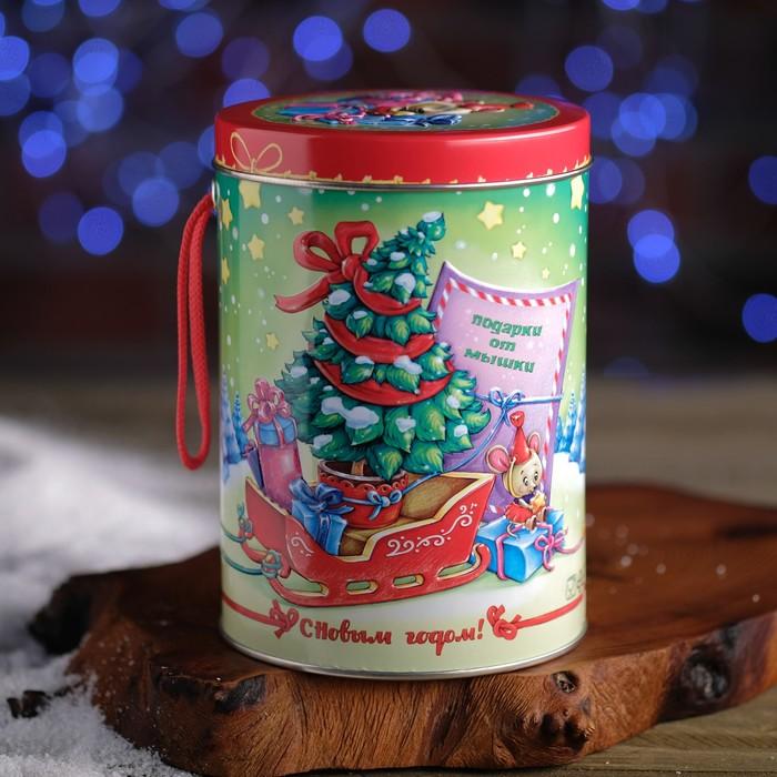 """Подарочная коробка """"Подарки от Мышки"""", цилиндр, 10,8 х 10,8 х 15,5 см"""