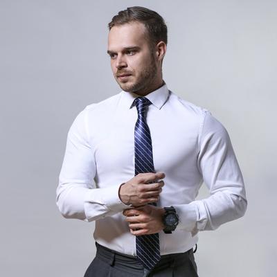 Necktie blue black and white stripes