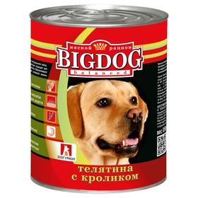 Влажный корм BIG DOG для собак, телятина/кролик, ж/б, 850 г